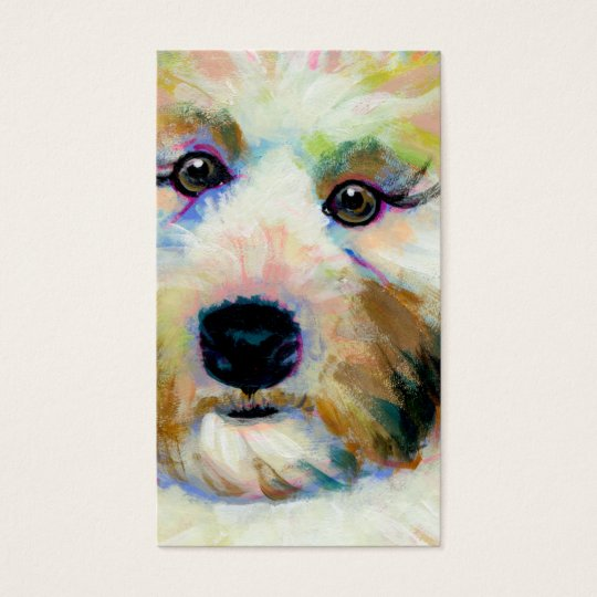 Cute dog adorable face fun colourful art painting