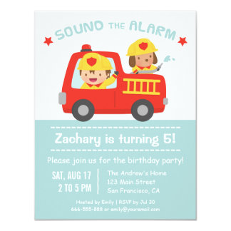 Cute Dog and Boy Red Fire Truck Birthday Party 11 Cm X 14 Cm Invitation Card