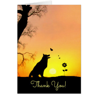 Cute Dog and Butterfly Thank You Card