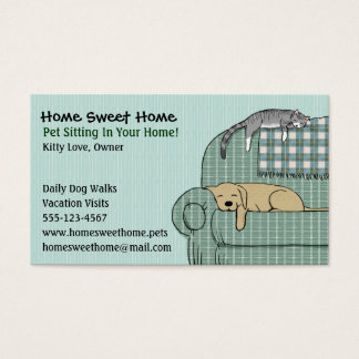 Cute Dog and Cat Pet Sitting - Animal Services Business Card