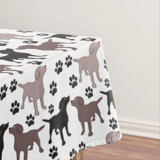 Cute Dog and Paw Prints Tablecloth