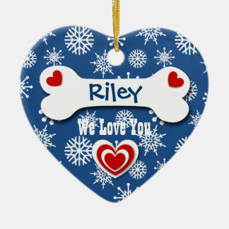 Cute Dog Bone and Snowflakes for Dog Lover B3 Ceramic Heart Decoration