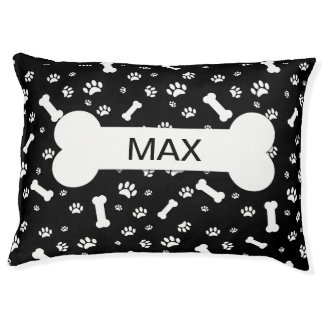 Cute Dog Bones And Paws Pet Bed