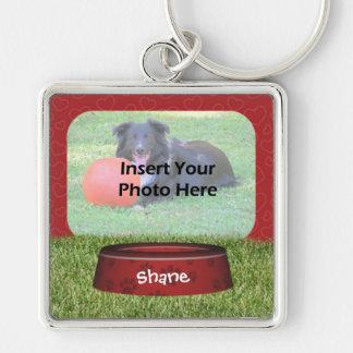 Cute Dog Bowl Design Pet Photo Key Ring