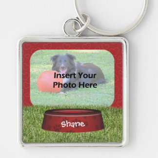 Cute Dog Bowl Design Pet Photo Silver-Colored Square Key Ring