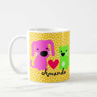 Cute Dog & Cat & Heart Basic White Mug