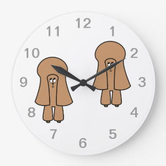 Cute Dog. Chocolate Brown Miniature / Toy Poodle. Large Clock