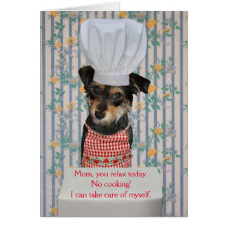 Cute Dog Customizable Mother's Day No Cooking Card