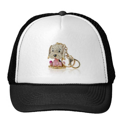 Cute Dog Diamond And Gold Key Ring Hat