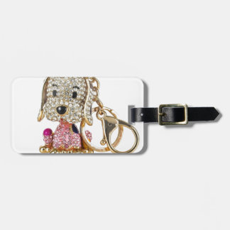 Cute Dog Diamond And Gold Key Ring Luggage Tag