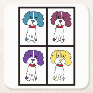 Cute Dog Drawing - Spaniel Square Paper Coaster