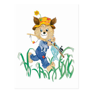 Cute Dog Going Fishing Post Card