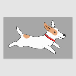Cute Dog - Happy Running Jack Russell Terrier Rectangular Sticker