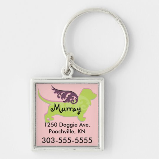 Cute Dog ID Tags Silver-Colored Square Key Ring