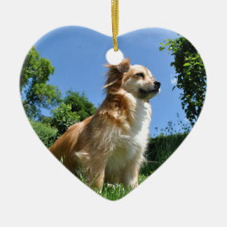 Cute dog in grass ceramic heart decoration