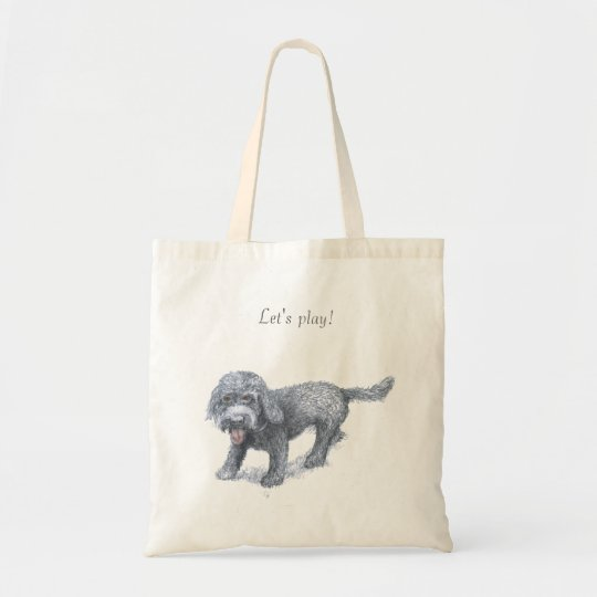 "Cute dog ""Let's play"" tote"