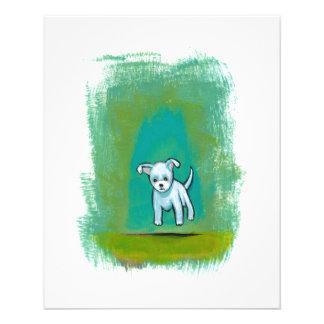 Cute dog little white puppy floating fun happy art 11.5 cm x 14 cm flyer