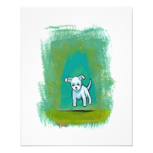 Cute dog little white puppy floating fun happy art custom flyer