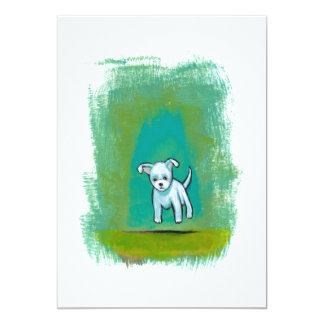 Cute dog little white puppy floating fun happy art 13 cm x 18 cm invitation card