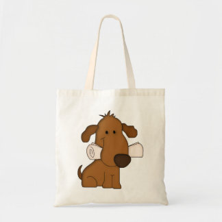 Cute dog newspaper tote reusable shopping bag