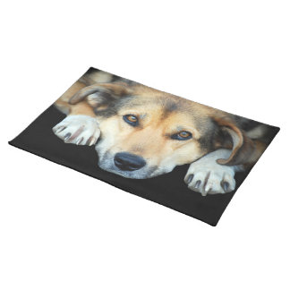 Cute dog on any color background placemat
