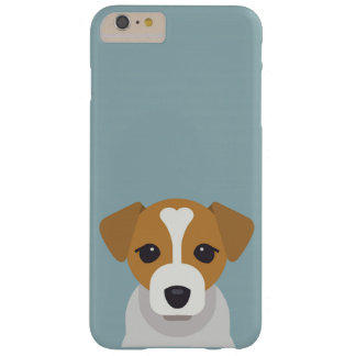 Cute dog on cyan background barely there iPhone 6 plus case