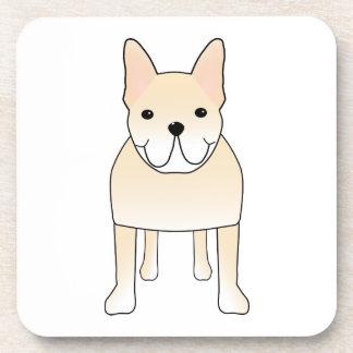 Cute Dog. Pale Cream French Bulldog. Beverage Coaster