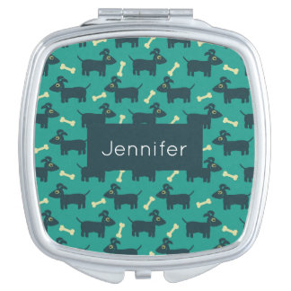 Cute Dog Pattern with Bone on Green Background Vanity Mirror