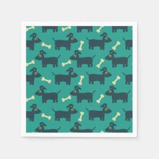 Cute Dog Pattern with Floppy Ears & Bone Paper Napkin