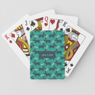 Cute Dog Pattern with Floppy Ears & Bone Playing Cards