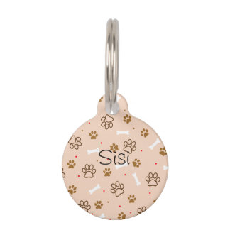 Cute dog pattern with paws bones tiny polka dots pet name tag