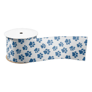 Cute Dog Paw Prints for Dog Lovers V02 BLUE Paws Satin Ribbon
