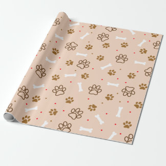 cute dog paws and bones polka dots pattern wrapping paper
