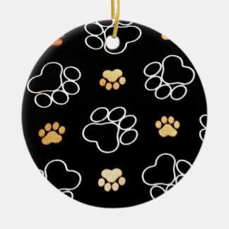 Cute Dog Paws Round Ceramic Decoration