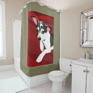 cute dog red shower curtain