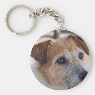 Cute dog round keyring basic round button key ring