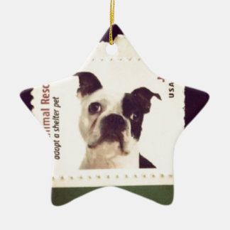 Cute Dog Stamped Ceramic Star Decoration