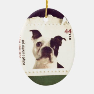 Cute Dog Stamped Double-Sided Oval Ceramic Christmas Ornament