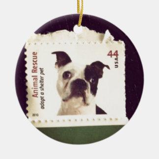 Cute Dog Stamped Round Ceramic Decoration