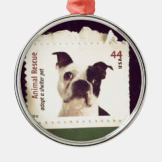 Cute Dog Stamped Silver-Colored Round Decoration