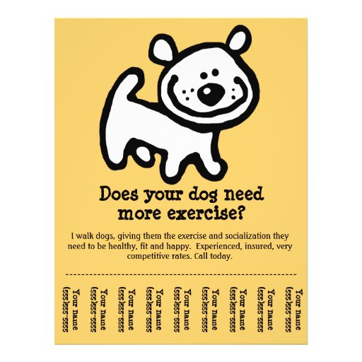 CUTE! Dog Walking promotion tear-sheet flyer_Y Flyers