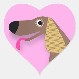 Cute dog with floppy ears heart sticker