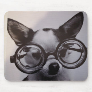 Cute Dog with Glasses Mouse Mat