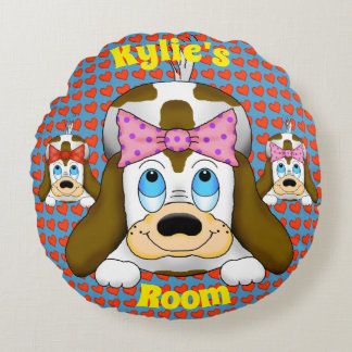 Cute Dog with Hearts Round Pillow