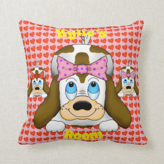 Cute Dog with Hearts Square Pillow