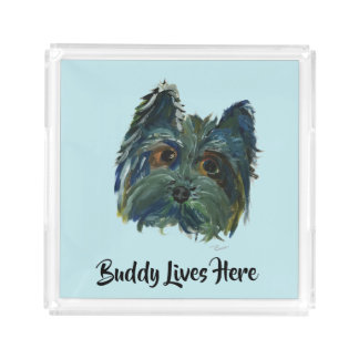 Cute Dog Yorkie Pop Art in Blue and Green Acrylic Tray