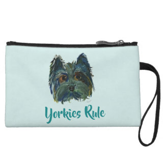 Cute Dog Yorkie Pop Art in Blue and Green Wristlet