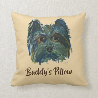 Cute Dog Yorkie Pop Art Painting in Blue and Green Cushion