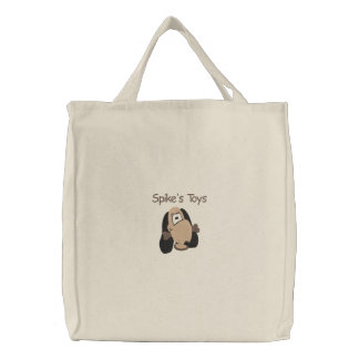Cute Doggie Head with Bone Embroidery Pattern Canvas Bag