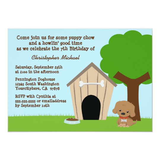 Cute doggie house boy's birthday party invitation
